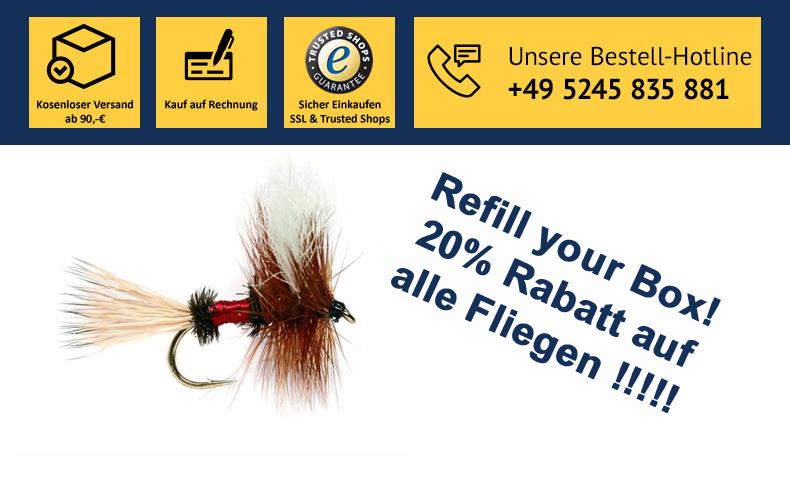 Refill your Box! 20% Rabatt auf Fliegen